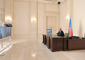 President Ilham Aliyev receives in a video format Anar Karimov