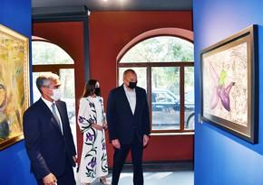Ильхам Алиев и Мехрибан Алиева ознакомились с выставками, организованными Фондом Гейдара Алиева в Шуше
