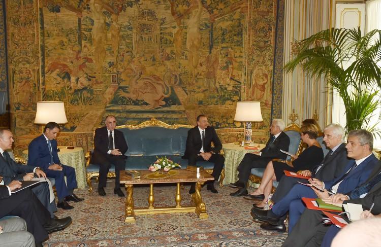 Президент Ильхам Алиев встретился с президентом Италии Серджо Маттареллой