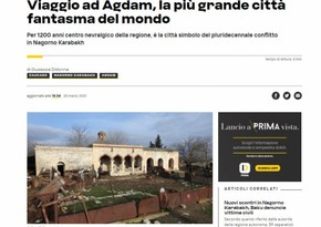 Italian news agency AGI publishes article about Azerbaijan's ghost city of Aghdam