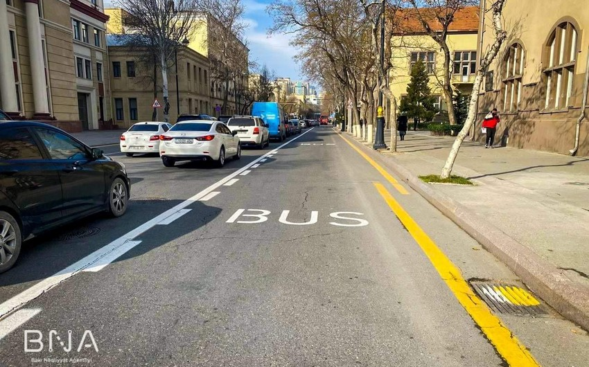 Bakıda daha bir küçədə xüsusi avtobus zolağı təşkil edilib