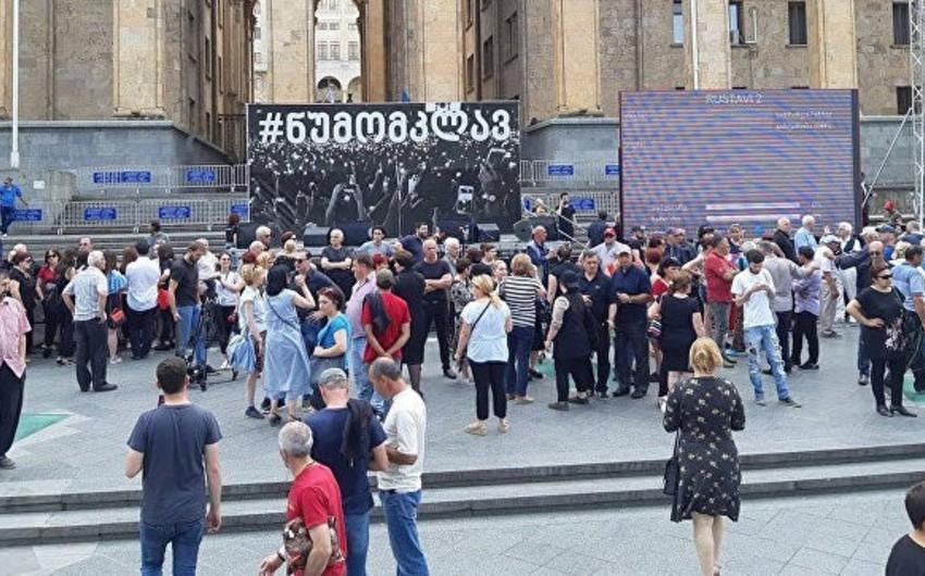 Tbilisidə keçirilən etiraz aksiyasında 2 nəfər saxlanılıb