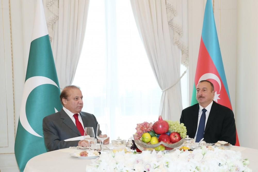 President Ilham Aliyev hosted an official dinner in honor of Pakistani Prime Minister