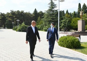 President Ilham Aliyev arrives in Naftalan
