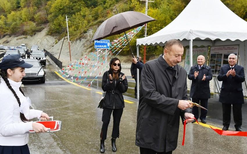 Azərbaycan Prezidenti Şamaxıda Pirqulu-Dəmirçi avtomobil yolunun açılışını edib