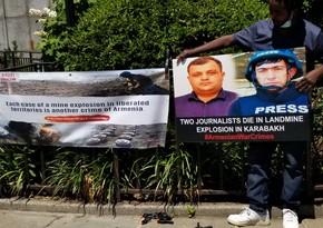 BMT-nin qarşısında azərbaycanlı jurnalistlər yad edilib