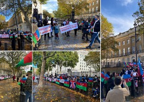 Azerbaijanis protest Ganja terror before Boris Johnson's office