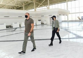 President Ilham Aliyev, Mehriban Aliyeva view conditions created at Fuzuli Int'l Airport