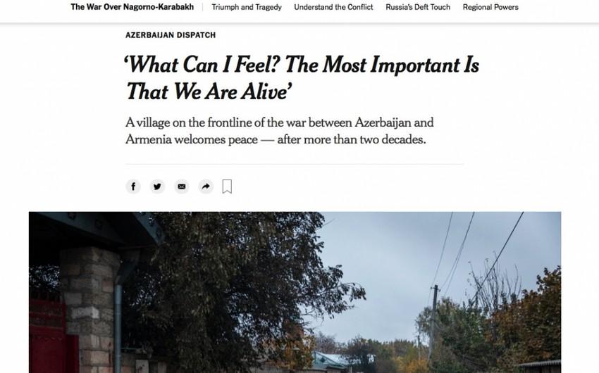 """""""The New York Times""""da Ağdamın Çıraqlı kəndi barədə məqalə dərc edilib"""