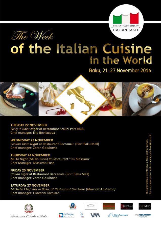 Program of Days of Italian Cuisine in Baku unveiled