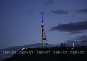 Тбилисская телебашня освещена цветами азербайджанского флага