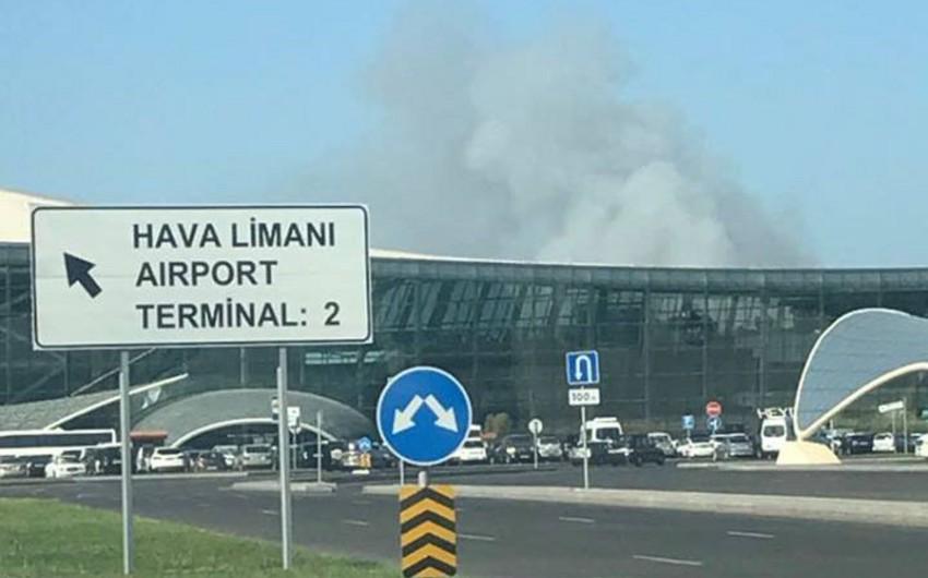 Bakı Beynəlxalq Hava Limanının yaxınlığında tüstülənmə müşahidə olunur - FOTO