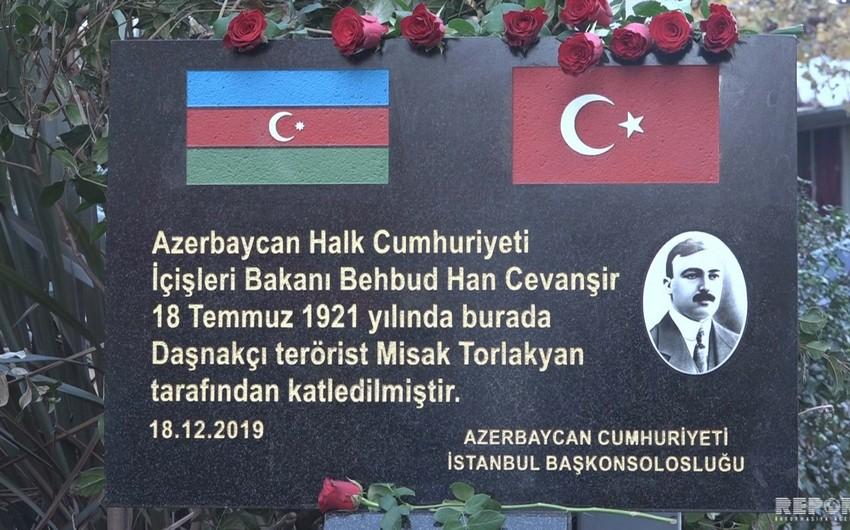 İstanbulda Behbud xan Cavanşirin xatirə lövhəsinin açılışı olub