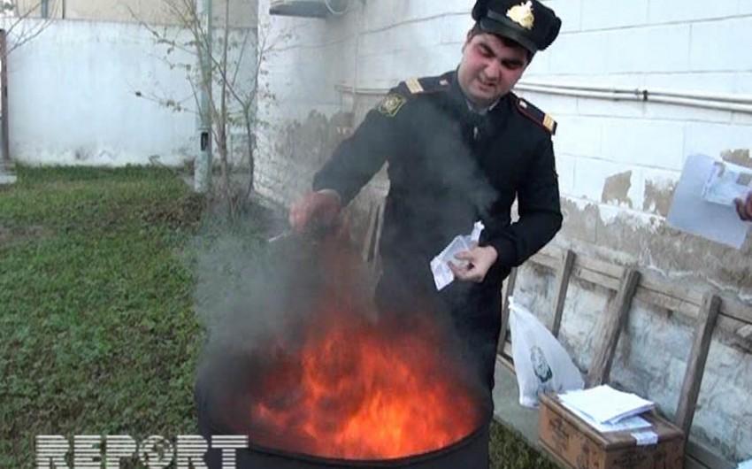 Salyanda narkotik maddələr yandırılma üsulu ilə məhv edilib - FOTO
