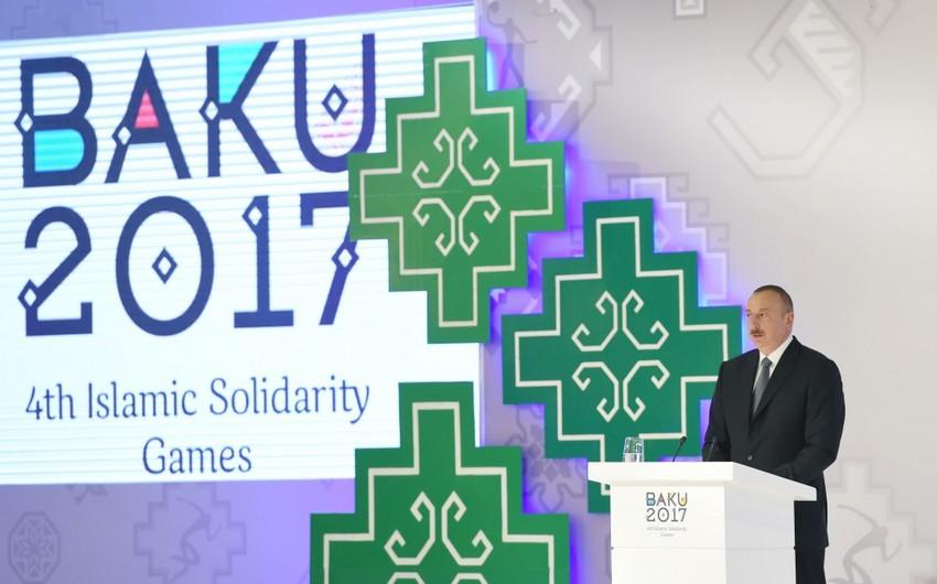"""Prezident İlham Əliyev: """"Biz İslam Həmrəyliyi Oyunlarında da yeni standartlar tətbiq etdik"""""""