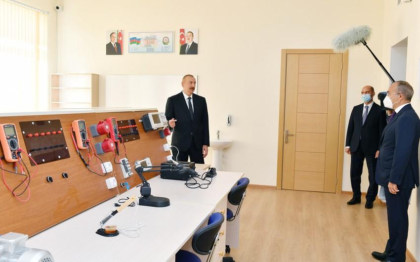 Dövlət başçısı Peşə Təhsil Mərkəzinin açılışında iştirak edib