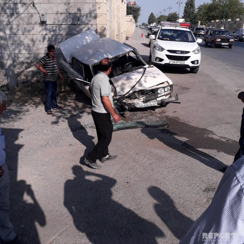В Кюрдамире произошла дорожная авария, двое пострадали