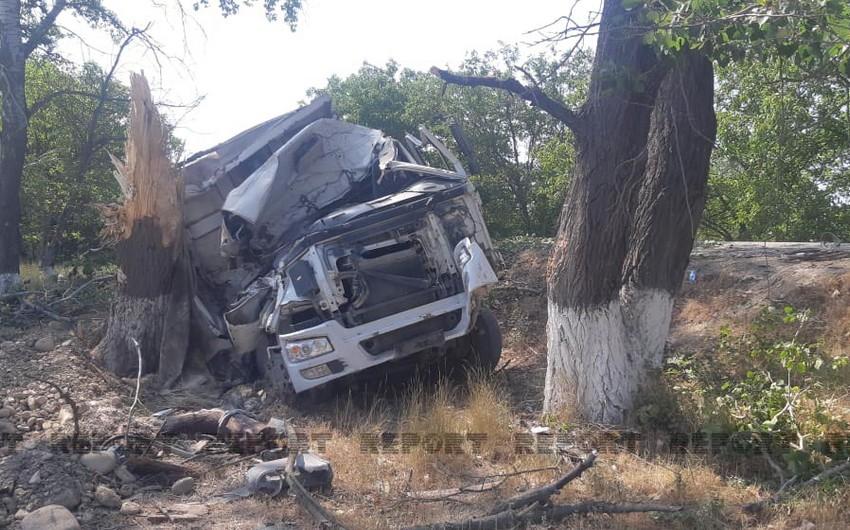 Quba-Bakı yolunda yük avtomobili ağaca çarpılıb