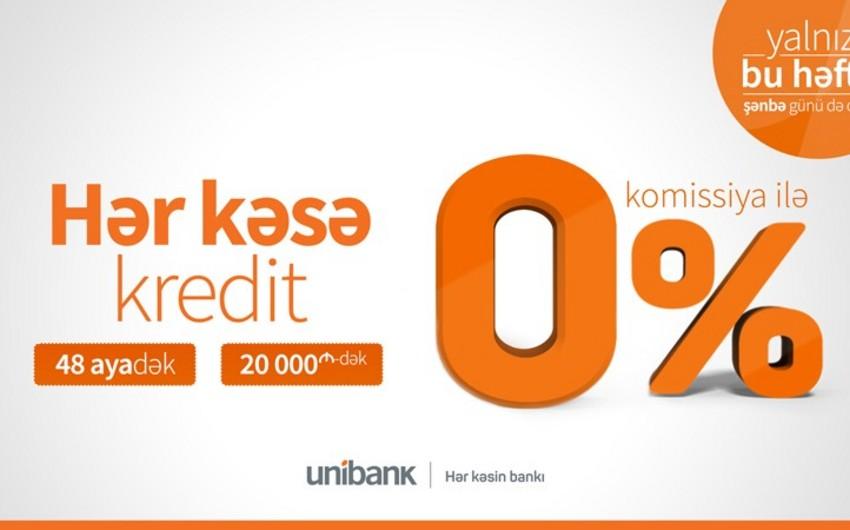 Unibank komissiyasız kredit təklif edir