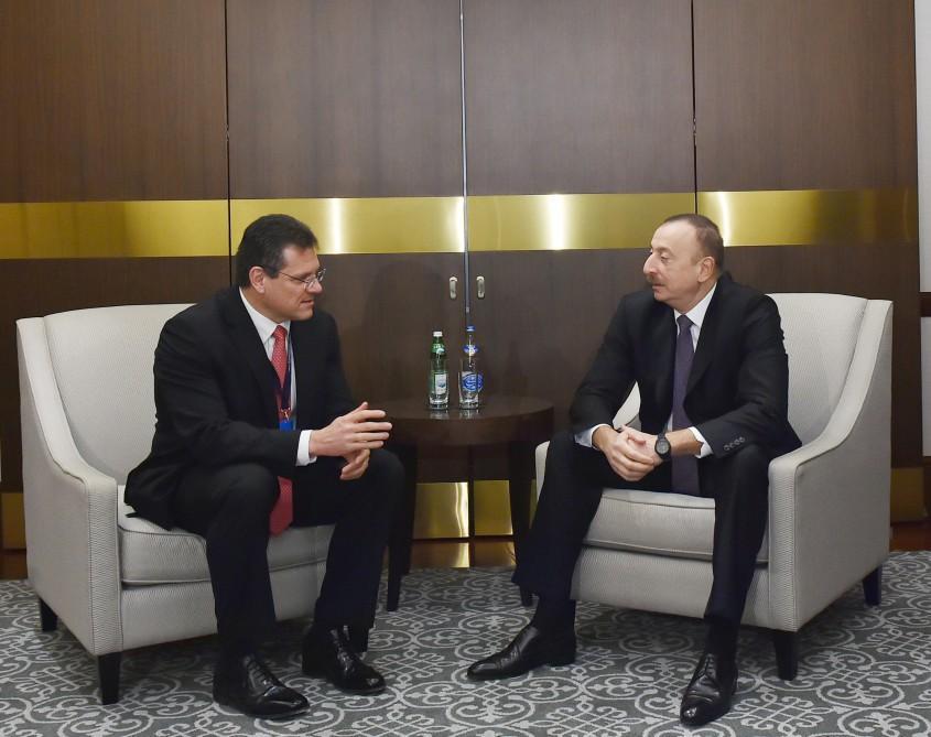 Президент Азербайджана принял Мароша Шефчовича, Берата Албайрака и Каху Каладзе