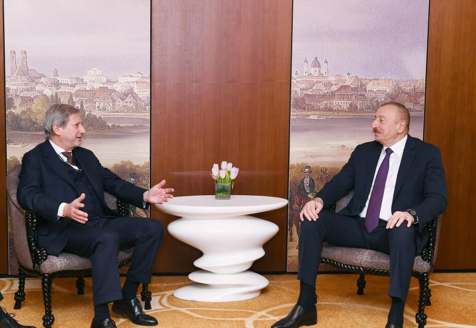 Prezident İlham Əliyev Avropa İttifaqının komissarı ilə görüşdü - FOTO - YENİLƏNİB
