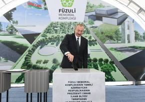 Füzuli Memorial Kompleksinin təməl daşı qoyulub