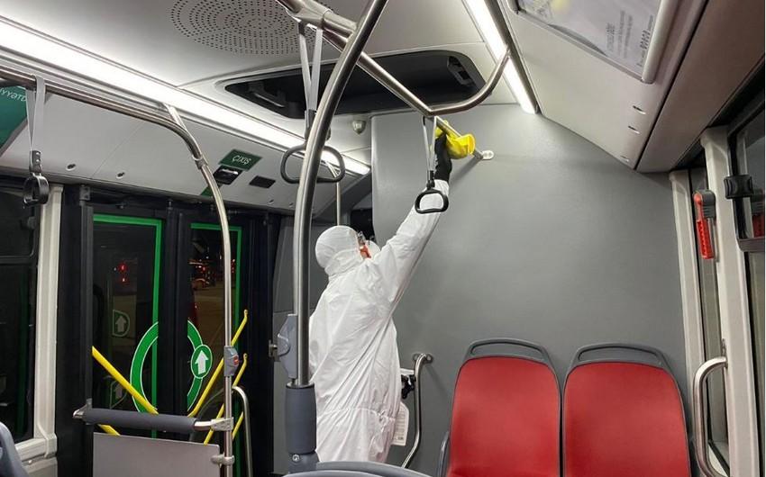 Avtobuslarda dezinfeksiya tədbirləri davam etdiriləcək - FOTO