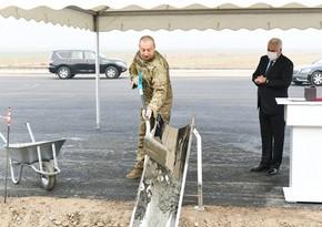 Ильхам Алиев заложил фундамент железнодорожной линии Горадиз-Агбенд
