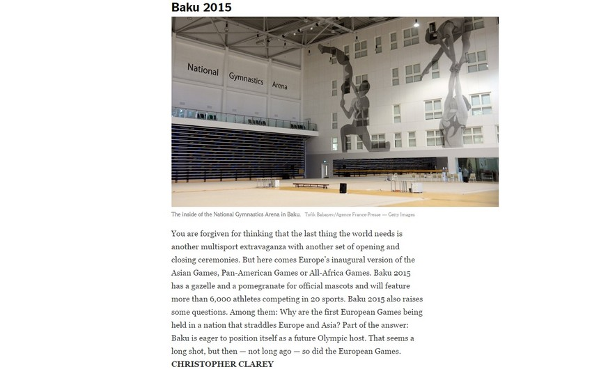 New York Times Avropa Oyunlarını 2015-ci ilin ən vacib idman hadisələri siyahısına daxil edib
