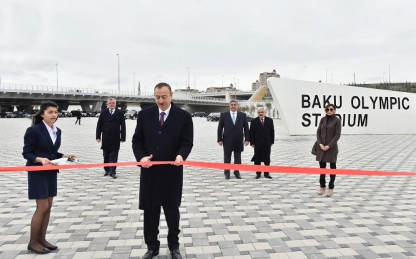 Prezident İlham Əliyev Bakı Olimpiya Stadionunun açılışında iştirak edib