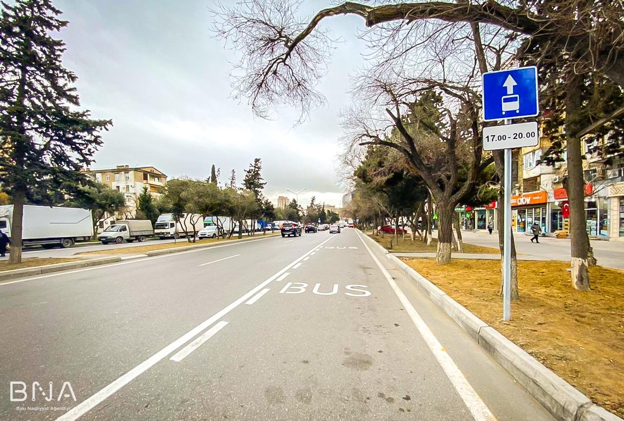 """Картинки по запросу """"На улице Ахмеда Раджабли завершены работы по созданию специальной полосы движения"""""""