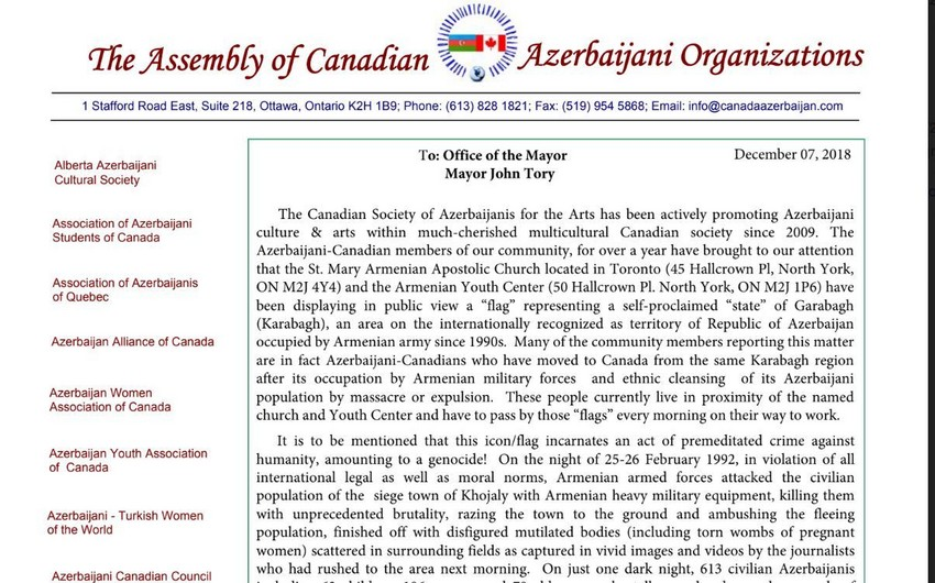 Canadian Azerbaijanis send letter of protest to country's officials over Armenian provocation