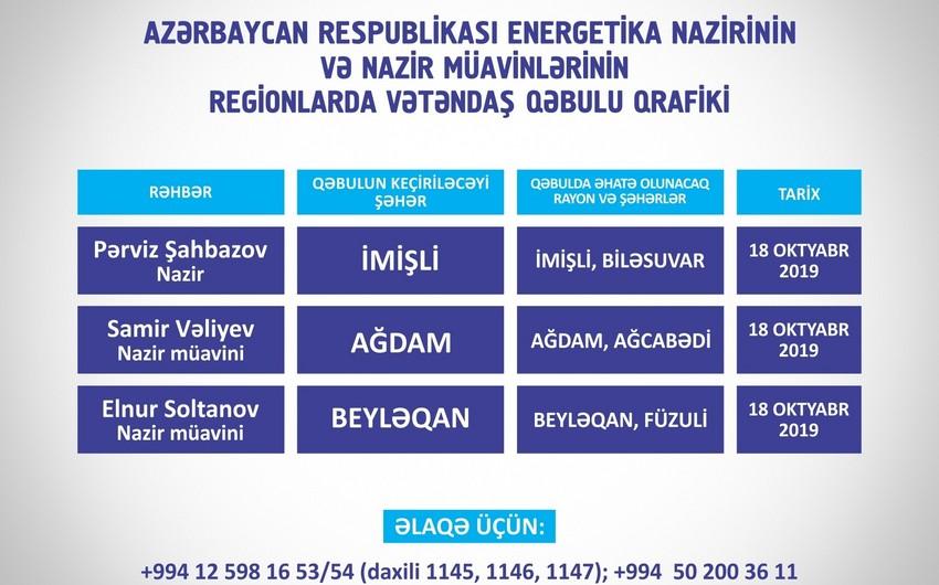 Energetika naziri və müavinləri İmişli, Ağdam və Beyləqanda vətəndaşlarla görüşəcək