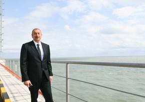Президент принял участие в открытии новой эстакады-насосной станции Сумгайытской электростанции