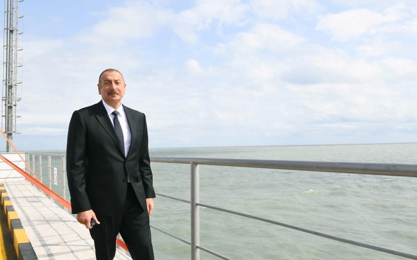 Dövlət başçısı Sumqayıt Elektrik Stansiyasının yeni estakada nasos stansiyasının açılışında iştirak edib