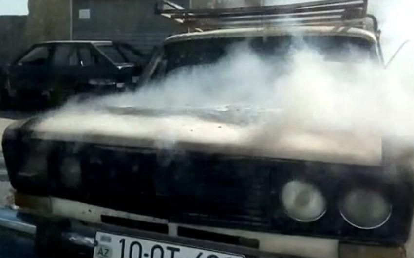 Abşeronda avtomobil yanıb - FOTO