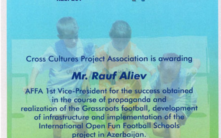 I вице-президент АФФА Рауф Алиев удостоен диплома