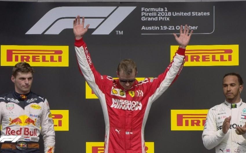 Ferrari pilotu Kimi Raykonnen ABŞ Qran-prisinin qalibi olub