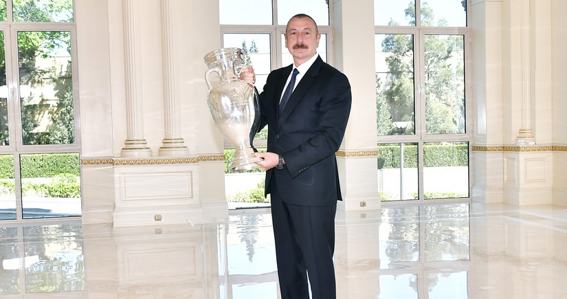 EURO 2020 cup presented to President Ilham Aliyev