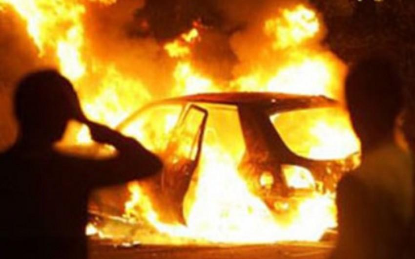 Sumqayıtda avtomobil yanıb, bir nəfər xəsarət alıb