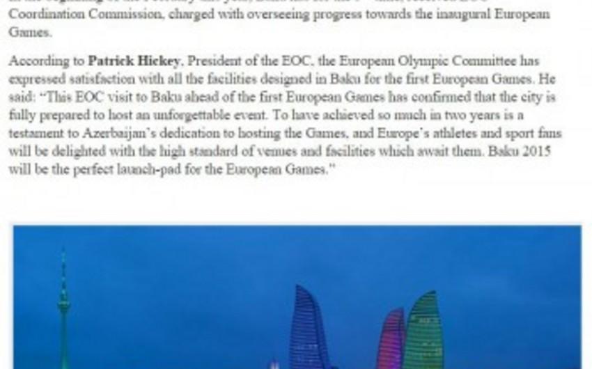 Niderland mətbuatında Bakı-2015 ilk Avropa Oyunları barədə məqalə dərc olunub