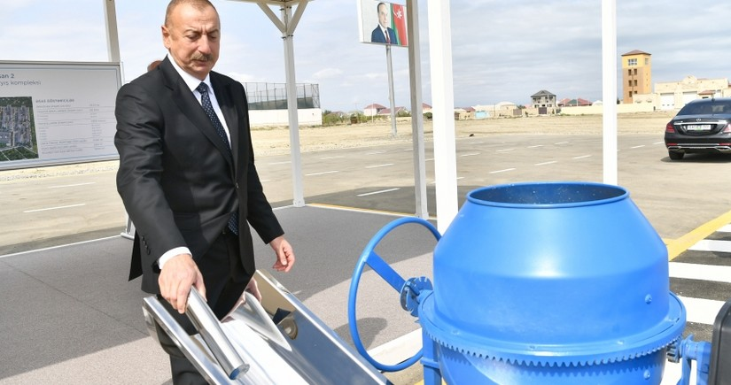 President Ilham Aliyev lays foundation stone for another residential complex in Sumgayit as part of preferential housing project