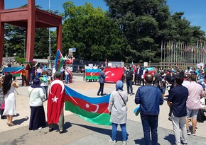 Azerbaijanis stage rally before UN HQ against Armenian provocation