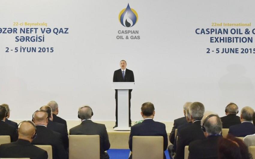 Президент Ильхам Алиев принял участие в открытии XXII Международной выставки Нефть и газ Каспия 2015 в Баку