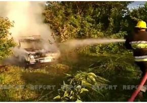 Göyçayda avtomobil yanıb
