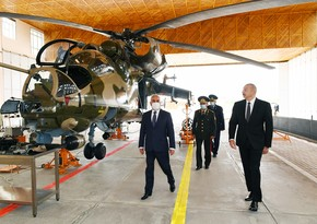 Ilham Aliyev attends opening of military aerodrome of Special Combined Arms Army