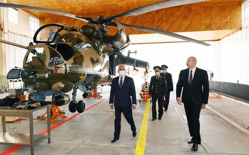 Ильхам Алиев принял участие в открытии военного аэродрома Отдельной общевойсковой армии