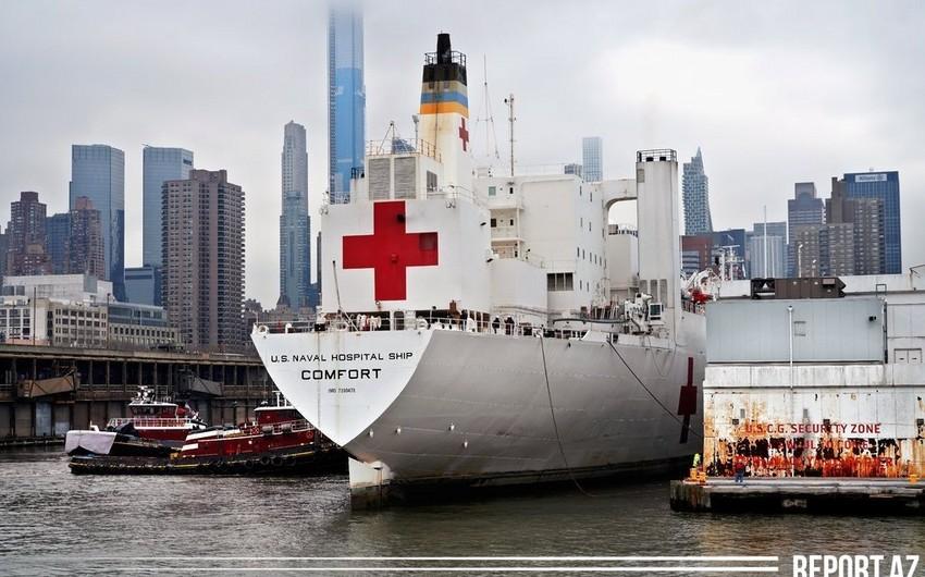 ABŞ-ın nəhəng xəstəxana gəmisi Nyu-Yorkdan alqışlarla yola salındı
