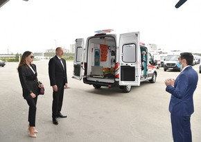 Ilham Aliyev and Mehriban Aliyeva view new ambulances