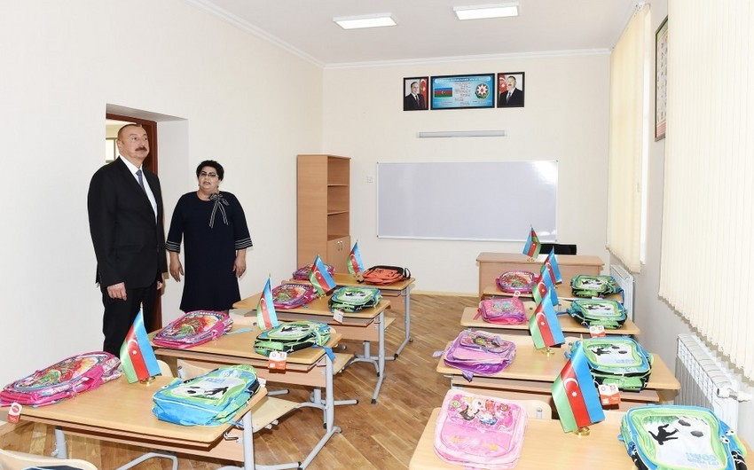 President Ilham Aliyev views newly-reconstructed school No 187 in Mashtagha settlement